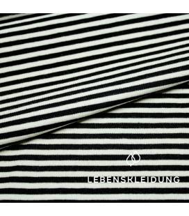 Lebenskleidung | Bio stretch jersey zwart-ecru smalle streep